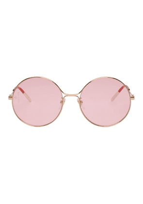 Gucci Gold and Pink Metal Aviator Sunglasses