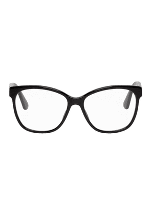 Gucci Black Crystal Logo Cat-Eye Glasses