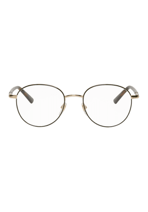 Gucci Gold and Green Round Outline Glasses