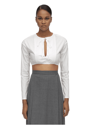 Self Tie Collar Cotton Poplin Crop Top