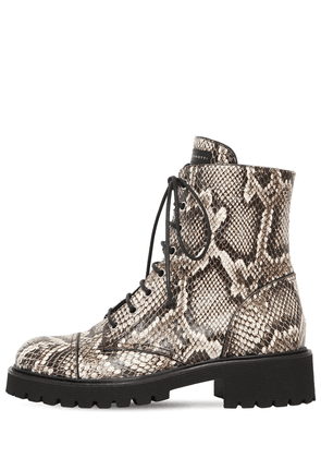 25mm Snake Print Leather Combat Boots