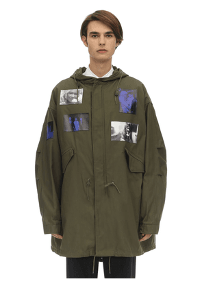 Hooded Mid-length Cotton Blend Parka