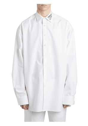 Over Cotton Poplin Shirt W/ Embroidery