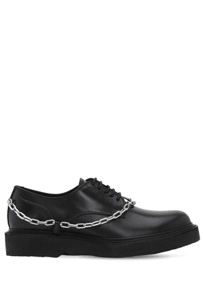 Leather Lace-up Shoes W/ Chain