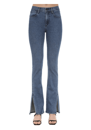 Flared Cotton Denim Jeans W/slits