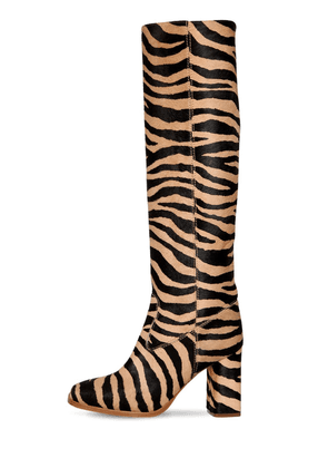 85mm Roma Tall Zebra Print Ponyskin Boot