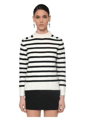 Striped Intarsia Wool Knit Sweater