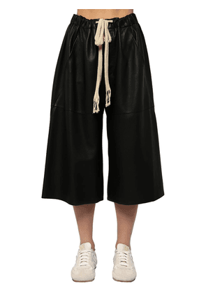Cropped Drawstring Leather Pants