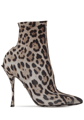 90mm Leopard Stretch Jersey Ankle Boots
