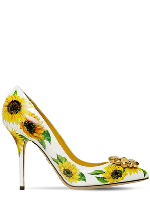 90mm Embellished Sunflower Leather Pumps