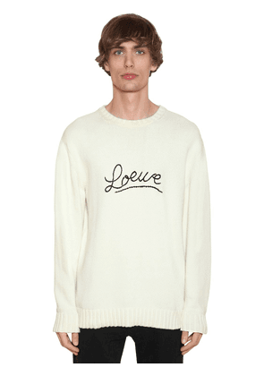 Embroidered Logo Cotton Knit Sweater