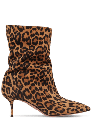 60mm Leopard Print Leather Ankle Boots
