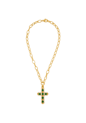 Gucci Gold and Green Cabochan Stone Cross Necklace