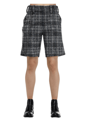 Checked Wool Blend Shorts W /chain