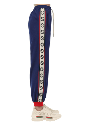 Gg Zip-up Cotton Blend Jersey Trackpants