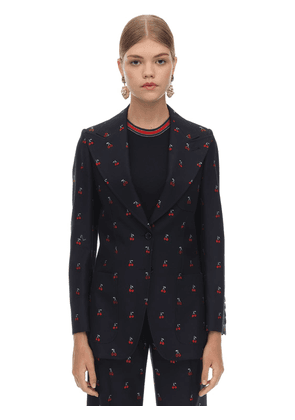 Gg Embroidered Wool & Cotton Jacket