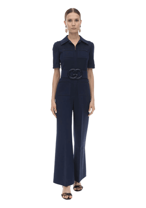 Long Belted Wool & Silk Cady Jumpsuit