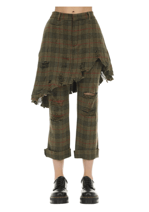 Destroyed Wool Blend Layered Skirt Pants