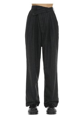 Pinstriped Crossover Wool Blend Pants