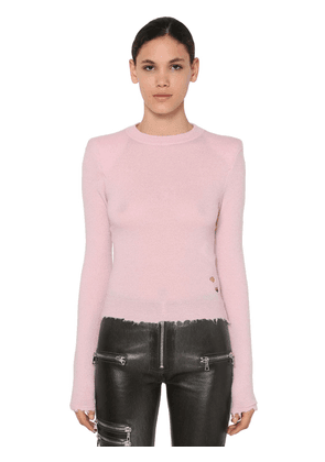 Padded Shoulders Raw Cut Sweater