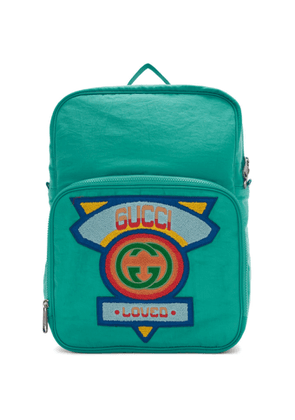 Gucci Blue Medium 80s Logo Patch Backpack