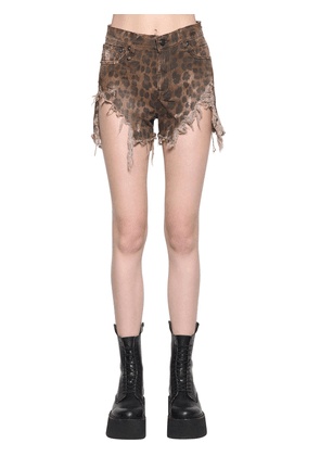 Shredded Leopard Printed Slouch Shorts