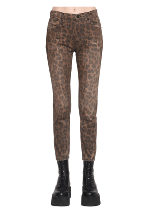 Leopard Printed High Rise Skinny Jeans