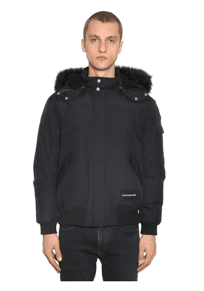 Hooded Down Bomber Jacket W/faux Fur