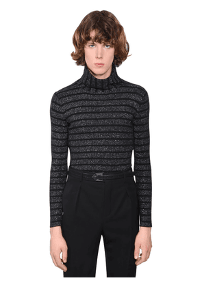 Lurex Wool Blend Turtleneck Sweater