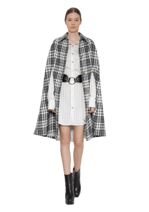 Long Wool Blend Houndstooth Cape
