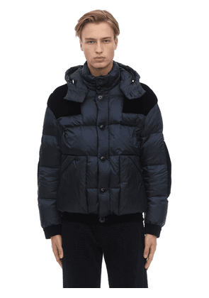 Hooded Down Jacket W/velvet Details