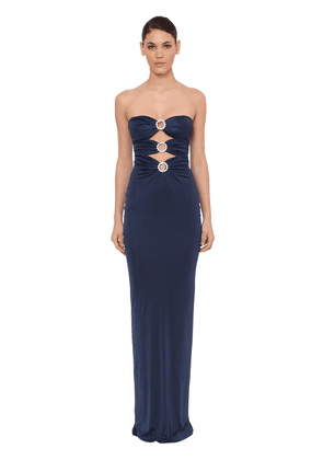 Strapless Viscose Dress W/crystal Detail