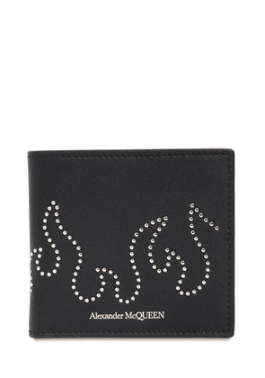 Studded Flame Leather Billfold  Wallet