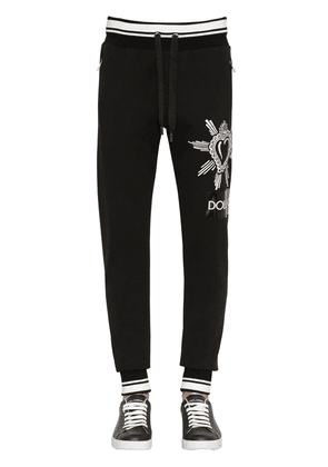 Tape Print Cotton Jersey Sweatpants
