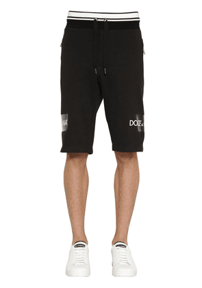 Printed Tape Cotton Jersey Shorts
