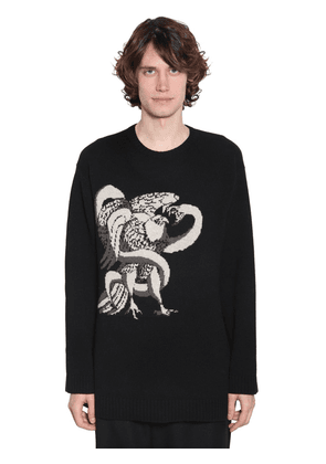 Eagle Snake Intarsia Wool Knit Sweater