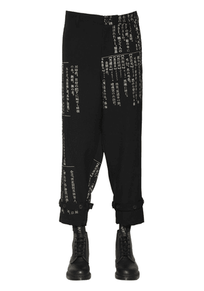 Japanese Dictionary Print Wool Pants