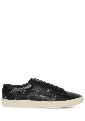 Leather Sneakers W/studded Stars