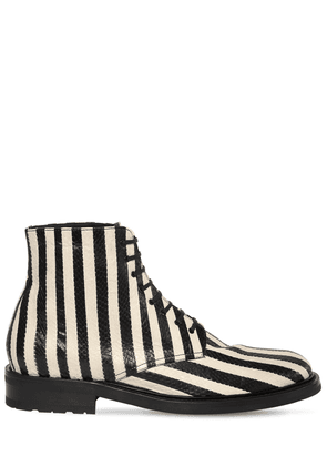 Army Striped Lace-up Snakeskin Boots
