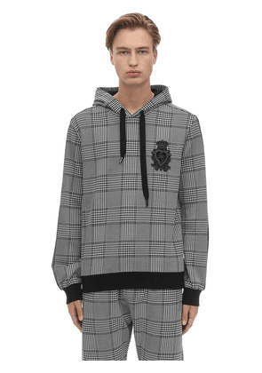 Cotton Blend Houndstooth Hoodie