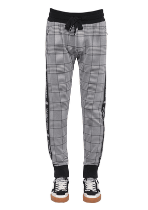 Cotton Blend Houndstooth Jogging Pants