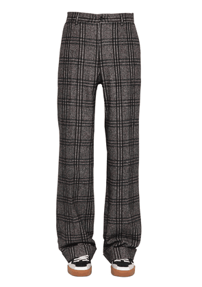 Loose Fit Checked Alpaca Blend Pants