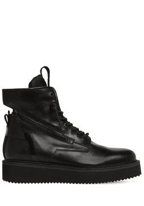 Zipped Leather Lace Up Boots