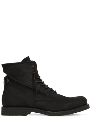 Zipped Rubberized Leather Lace Up Boots