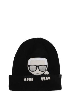 Karl Embroidered Wool Blend Knit Beanie