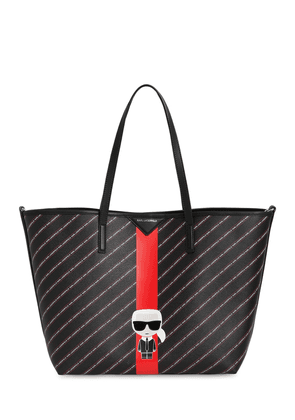All Over Logo Faux Leather Tote Bag