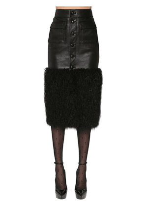 Faux Fur & Leather Midi Skirt