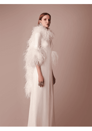 Long Cady Dress W/ Feather Details
