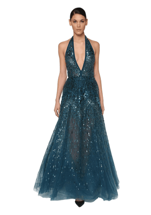 Sequin & Beads Embellished Tulle Dress