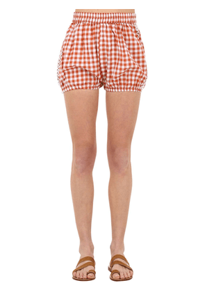 Checked Cotton & Lace Shorts